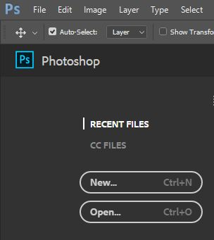 New and open file photoshop